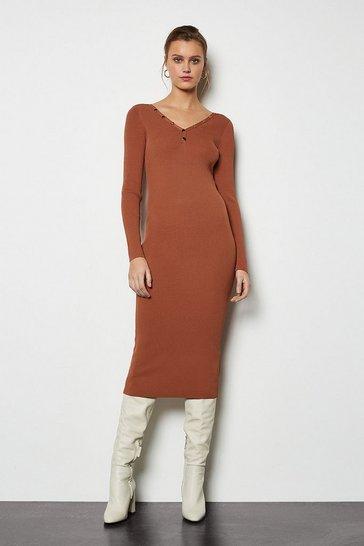Brick red V Neck Popper Ribbed Midi Dress