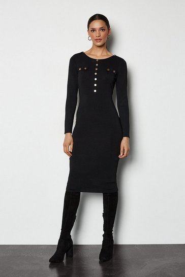 Black Gold Button Knitted Midi Dress