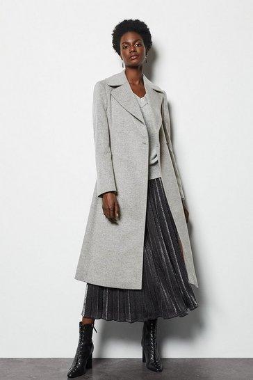 Grey Long Wrap Coat