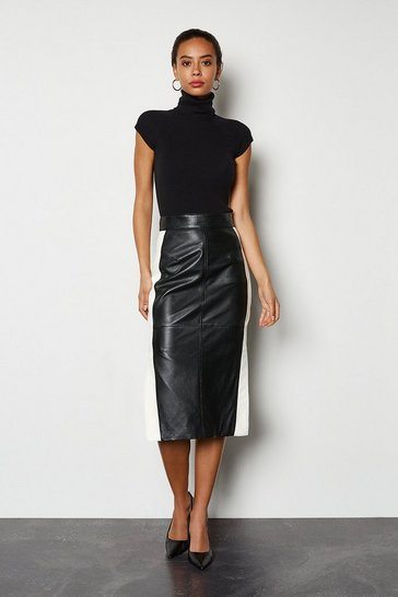 Blackwhite Colourblock Leather Pencil Skirt