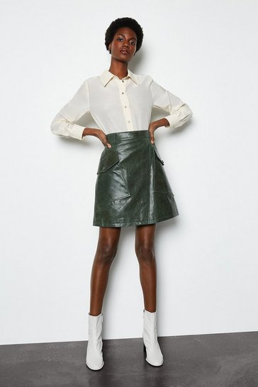Green Utility A Line Leather Skirt