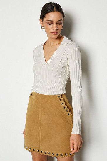 Camel Eyelet Detail Suede Mini Skirt