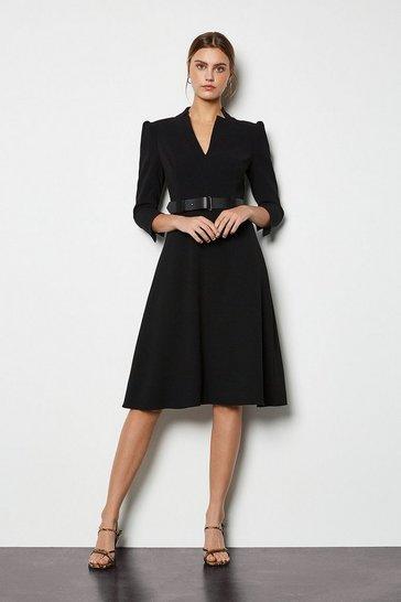 Black Forever Belted A Line Dress