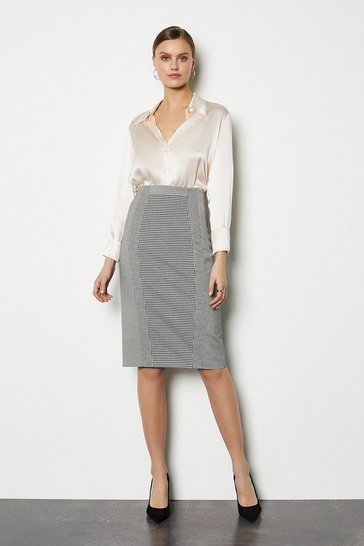 Black Multi Houndstooth Skirt