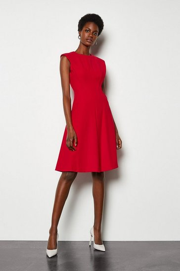 Red Sculptured Tailored Dress