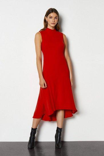 Red New Midi Day Dress