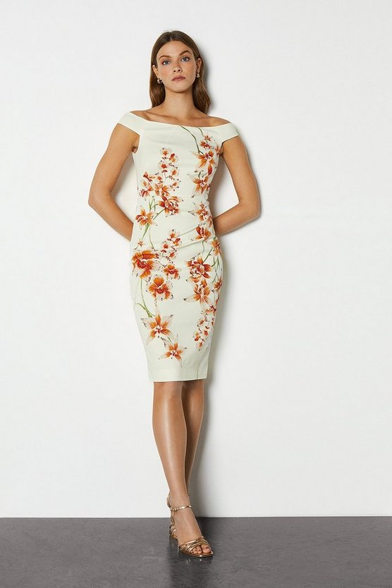 Multi Italian Stretch Orchid Print Pencil Dress