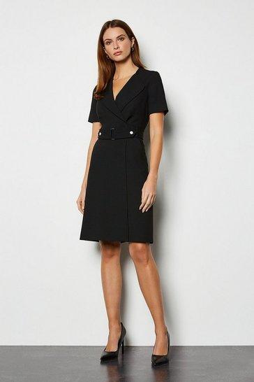 Black Cinch Waist A Line Dress
