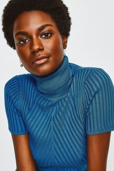 Dark blue Roll Neck Rib Knitted Top