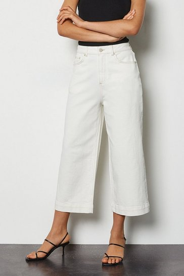 Off white Wide-Leg Off-White Crop Jeans