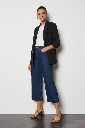 Indigo Wide Leg Cropped Jeans