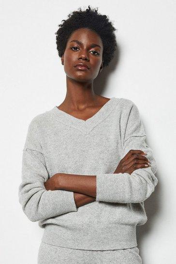 Grey Essential Cashmere Blend V Neck Jumper