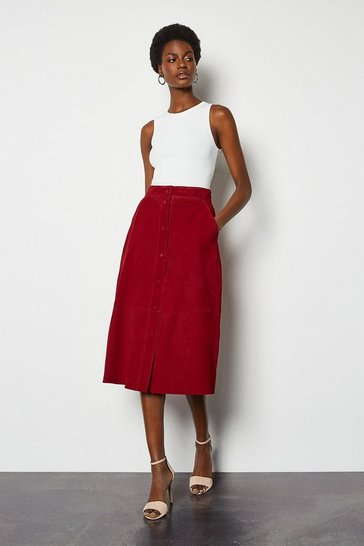 Red Popper Front Suede Midi Skirt