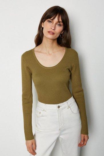 Khaki Knitted Rib Body