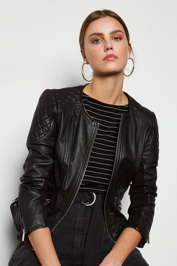 Black Zip Leather Quilted Shoulder Biker Jacket