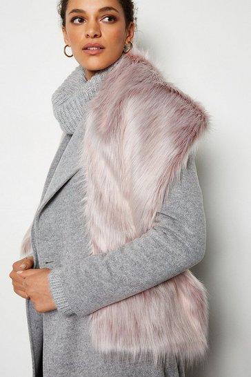 Pink Wide Faux Fur Scarf