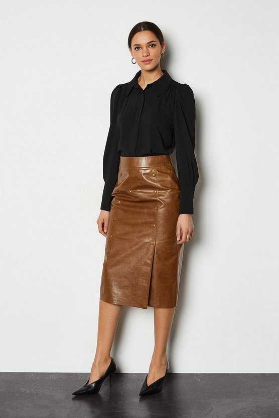 Tan Double Button Leather Pencil Skirt