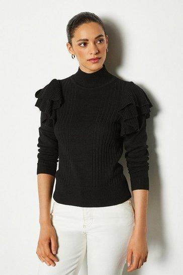 Black Ruffle Sleeve Knit Jumper