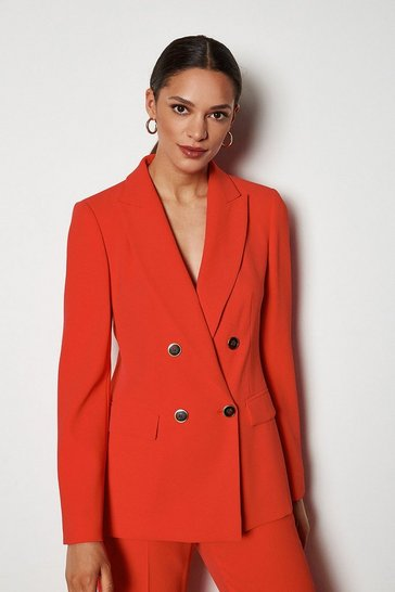 Red Tailored Double-Breasted Jacket