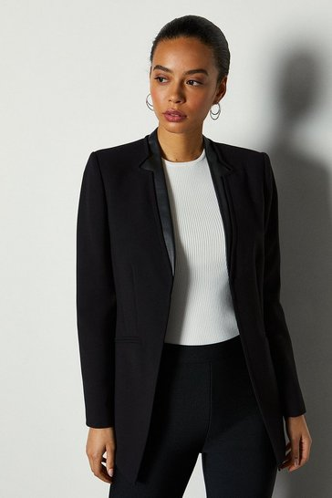 Black Faux Leather Collar Insert Jacket