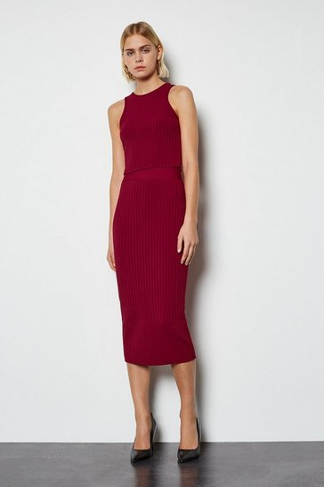 Burgundy Midi bandage pencil skirt