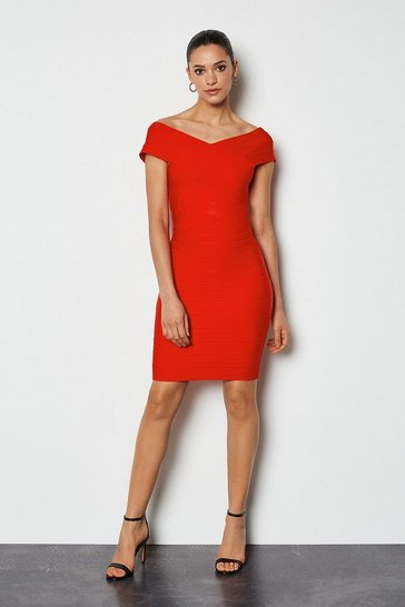 Red Bardot Bandage Short Dress