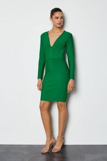 Green Long Sleeve Deep V Short Bandage Dress