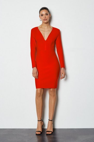 Red Long Sleeve Deep V Short Bandage Dress