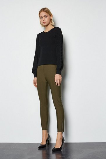 Khaki Slim Knitted Zip Detail Trousers