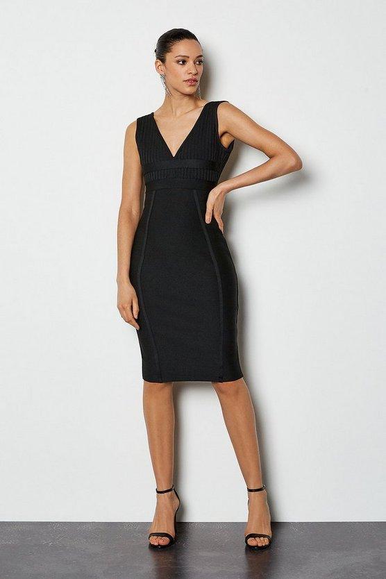 Black Sleeveless Bandage Dress