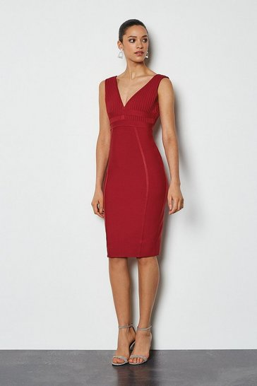 Burgundy Sleeveless Bandage Dress