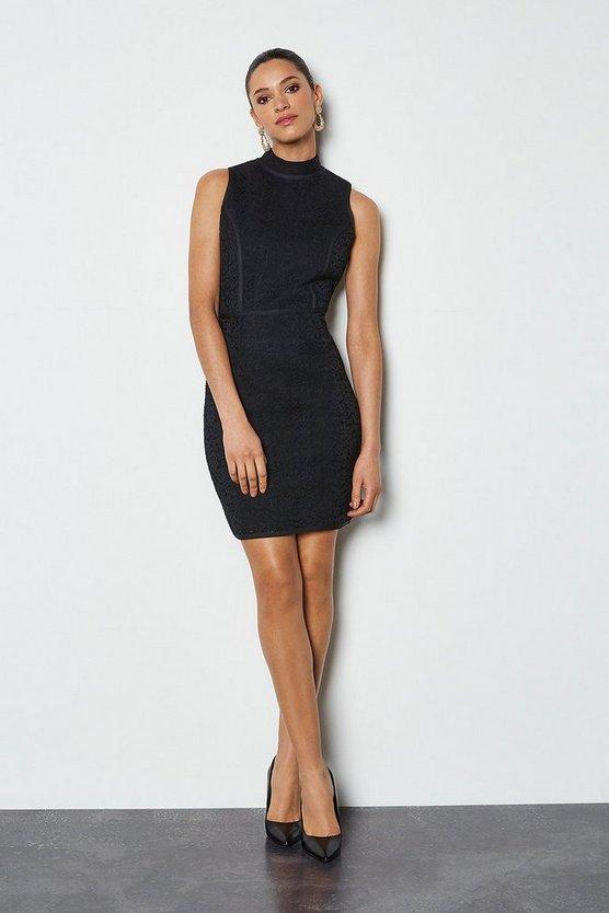 Black Lace Sleeveless Bandage Dress