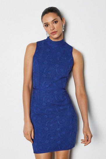 Blue Lace Sleeveless Bandage Dress