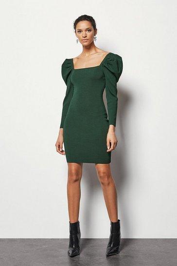 Green Volume Sleeve Dress