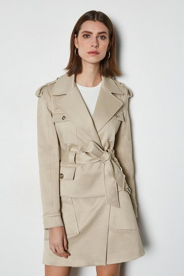 Stone Short Belted Mac