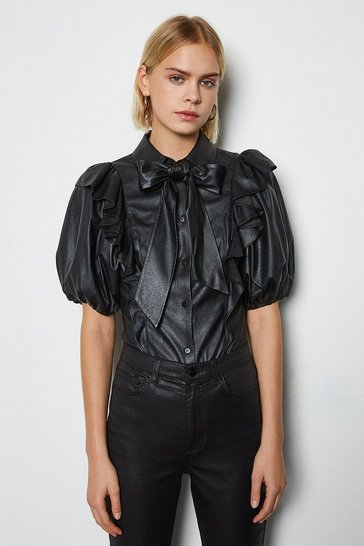 Black Faux Leather Frill Sleeve Shirt