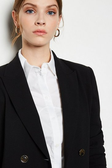 Black Soft Tailored Double Breasted Jacket
