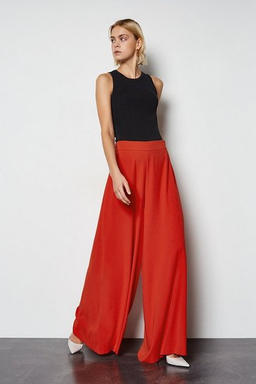 Red Soft Tailored Super Wide Leg Trousers