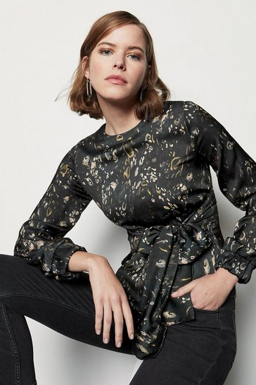 Multi Camo Print Tie Front Blouse