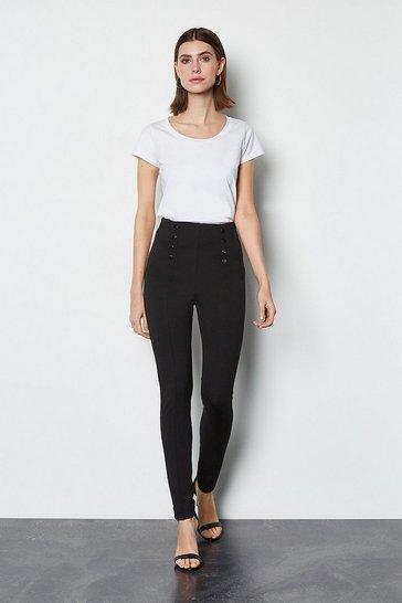 Black Ponte Snap Front Trouser