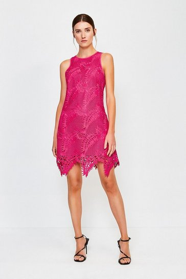 Pink Leaf Guipure Chemical Lace Dress
