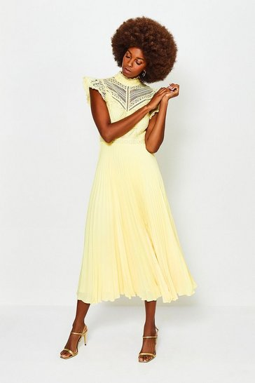 Yellow Chemical Lace Midi Dress