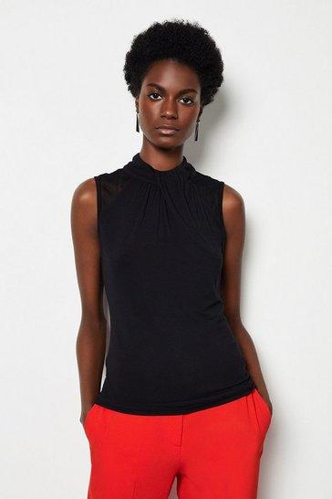 Black Lace Insert Draped Top