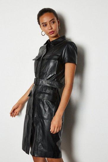 Black Clean Leather Utility Dress
