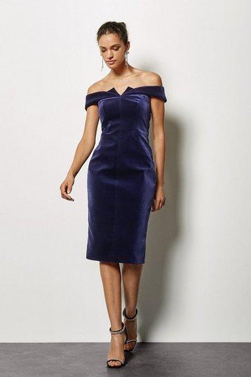 Purple Galaxy Velvet Bardot Dress