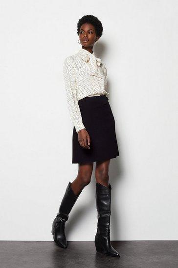 Black Pleated Seps Skirt