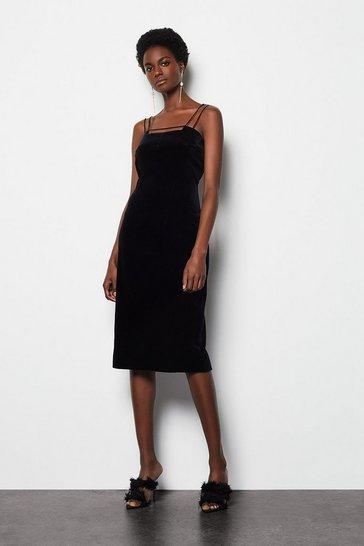Black Velvet Strap & Bar Dress