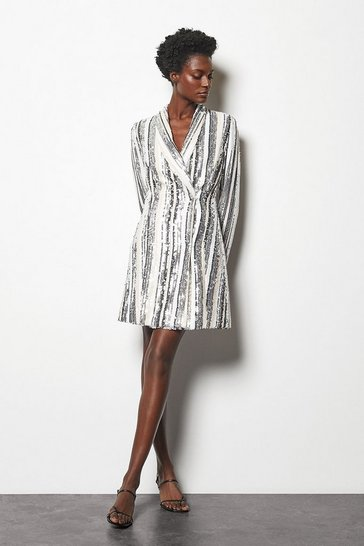 Blackwhite Sequin Stripe Dress