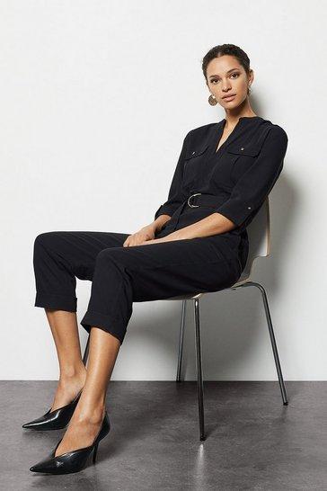 Black Utility Belted Jumpsuit