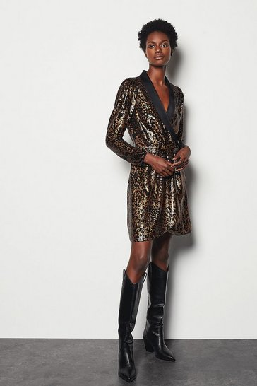 Black Sequin A-Line Dress